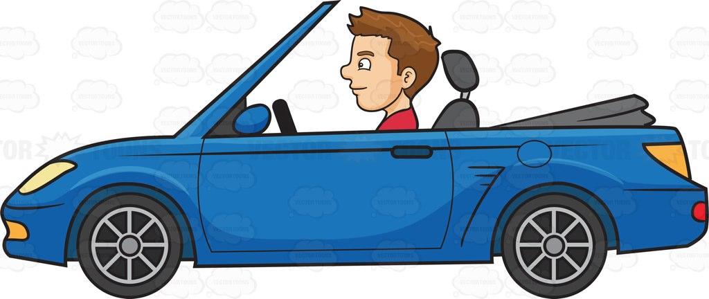 A Man Driving A Sports Convertible Car Cartoon Clipart.