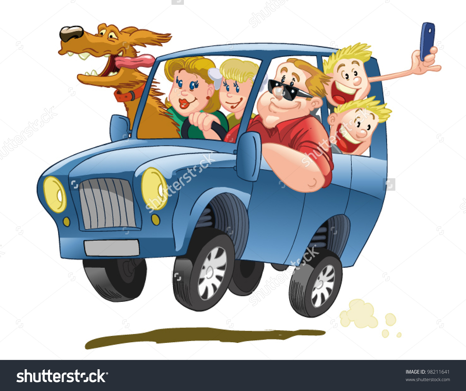 Clipart car with people.