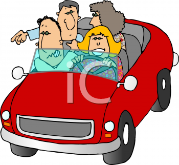 Royalty Free Clip Art Image: Cartoon of People Out for a Drive.