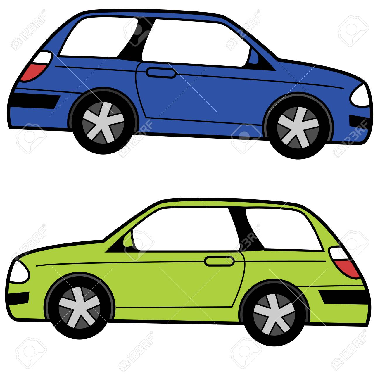 An image of a profile view Compact Cartoon Car..