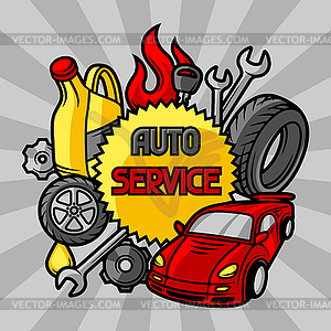 Car repair concept with service objects and items.