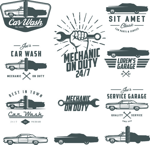 Car repair vintage logos vector Free vector in Encapsulated.