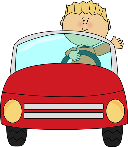 Boy driving a car and waving..