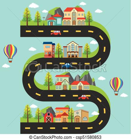 Roadmap with buildings and cars on the road.