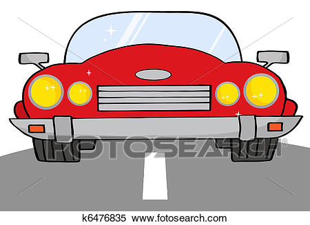 Red Convertible Car On A Road Clipart.