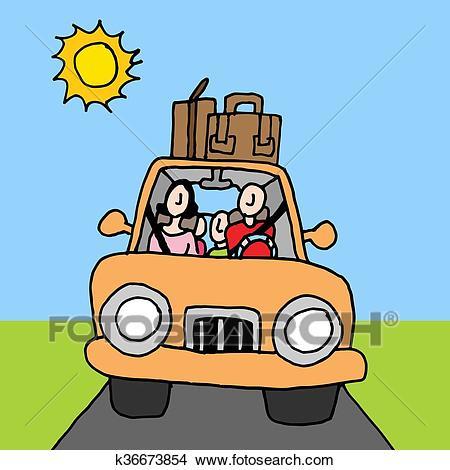 Family car road trip Clipart.
