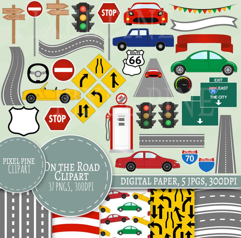 On the Road Clipart Set, Road themed 37 PNGs, 5 Car and Road Digital Paper  JPGs, Commercial Use, Road trip clipart, road trip clip art pngs.