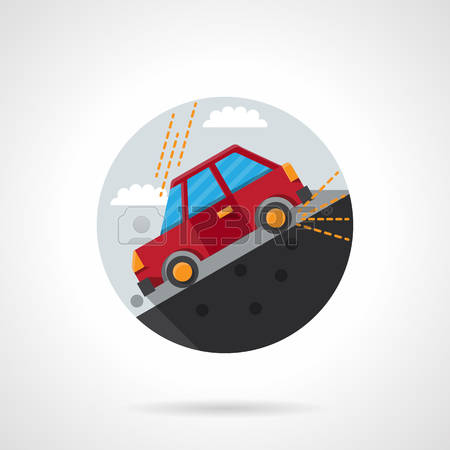 Car Rolling Down A Hill Clipart.
