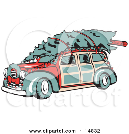 Clipart Illustration of a Rust Brown Vintage Rat Rod Car With A.