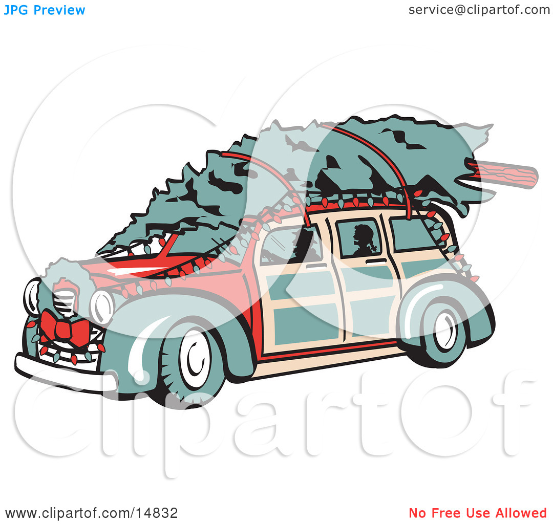 Car With Christmas Tree Clipart.