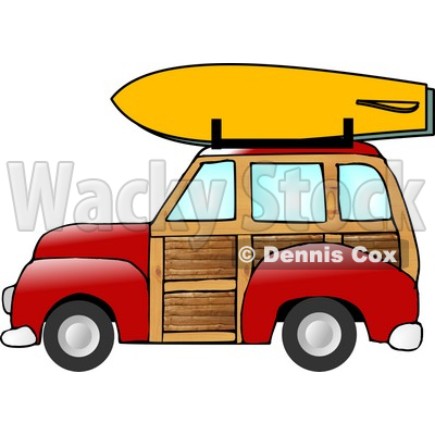 Car With a Surfboard on the Roof Rack Clipart Illustration.