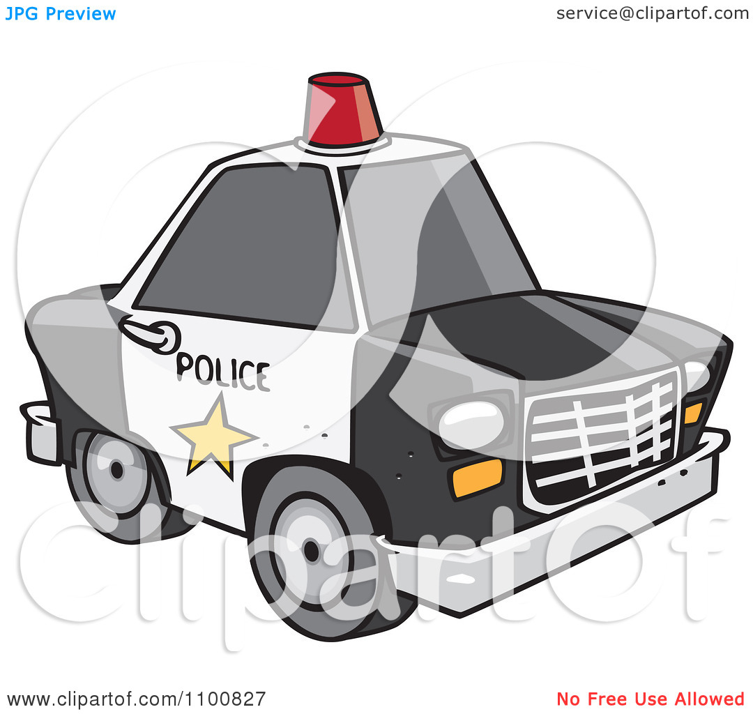 Clipart Cartoon Police Car With A Siren Cone On The Roof.