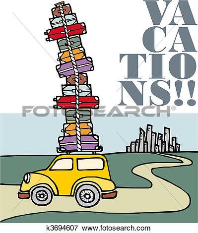 Clip Art of Vacations: a car running away from the city. k3694607.
