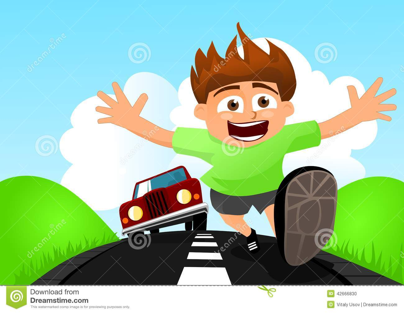 Child Running Away From Car Stock Vector.