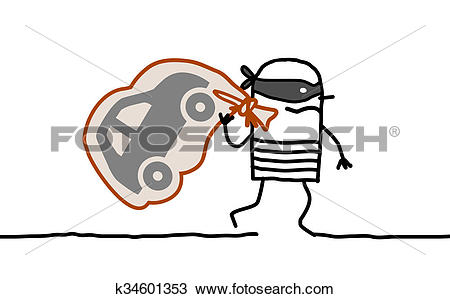 Drawing of car thief running away k34601353.