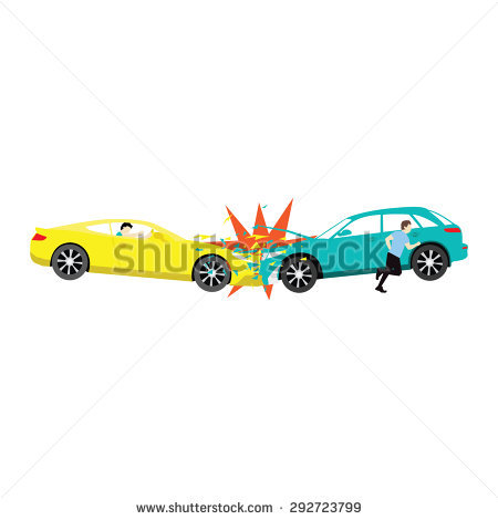 Accident Two Car Crash Driver Run Stock Vector 292723799.