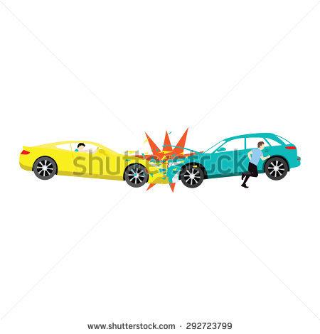 Accident Two Car Crash Driver Run Stock Vector 292723799.