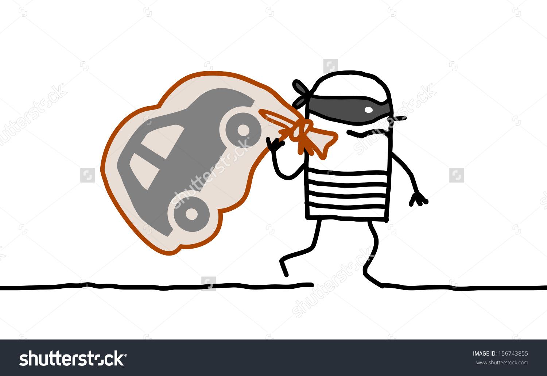 Hand Drawn Cartoon Characters Car Thief Stock Vector 156743855.