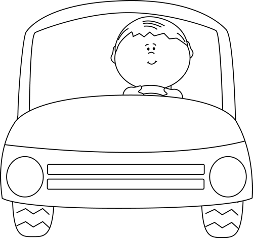 Car Running Away Clipart Black And White.
