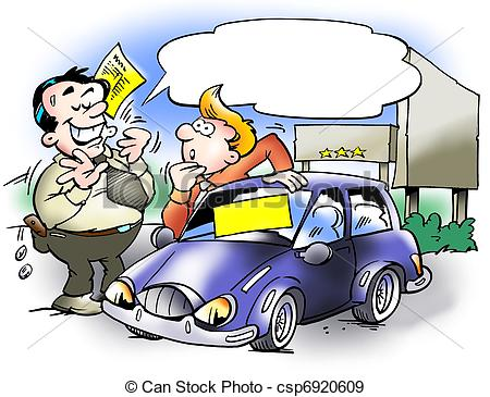 Clipart of A smart car salesman and a customer csp13449919.