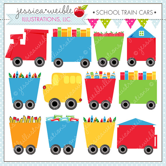 School Train Cars Cute Digital Clipart for Commercial or Personal.