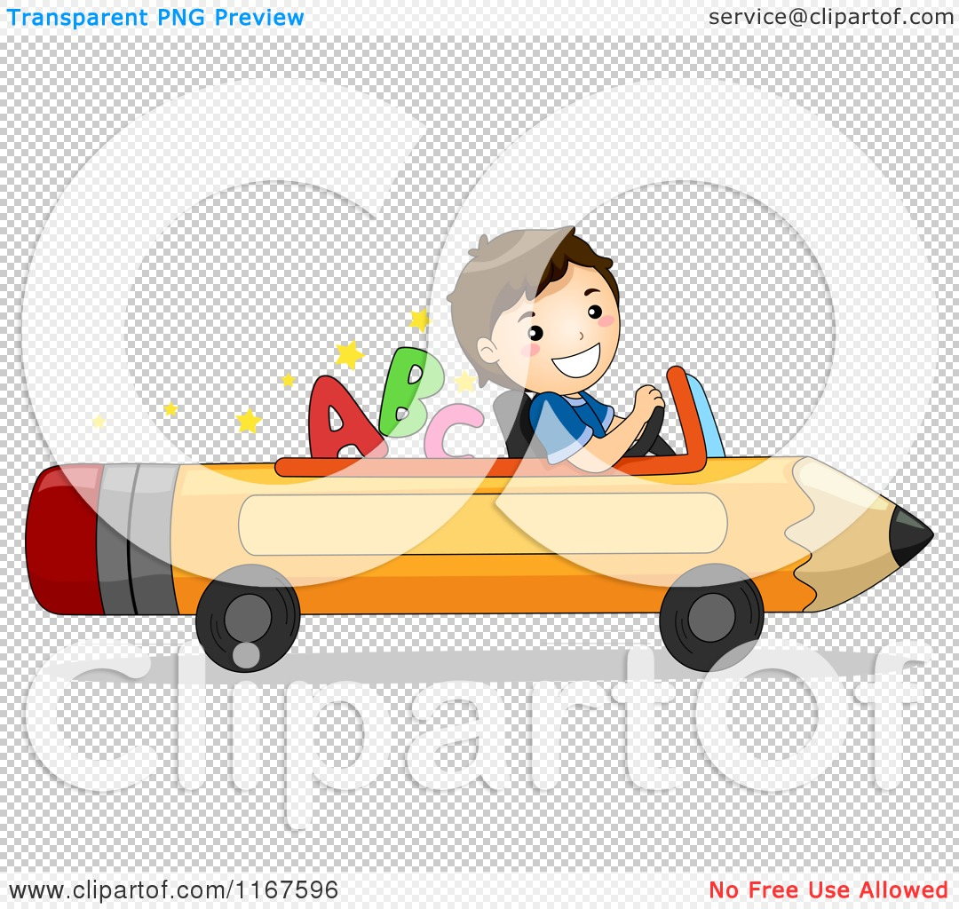 Cartoon of a Happy School Boy Driving a Pencil Car with Letters.