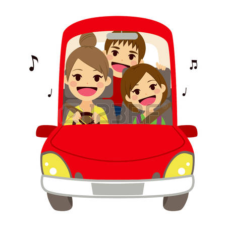 Friends In Car Leave For School Clipart.