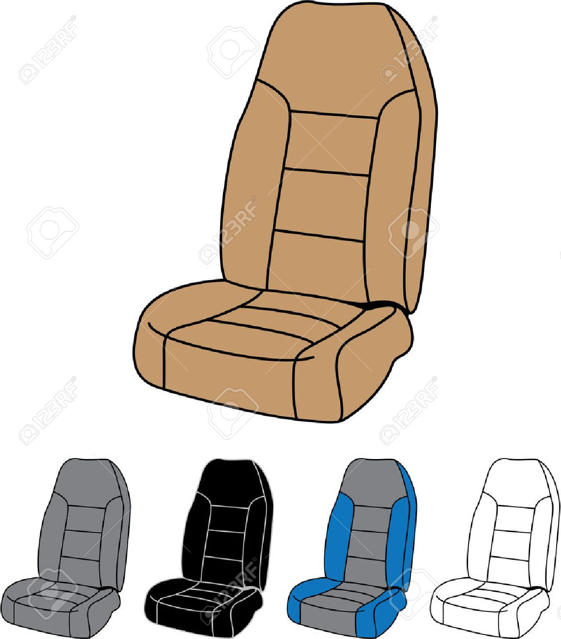 Front car seat vector image clip.