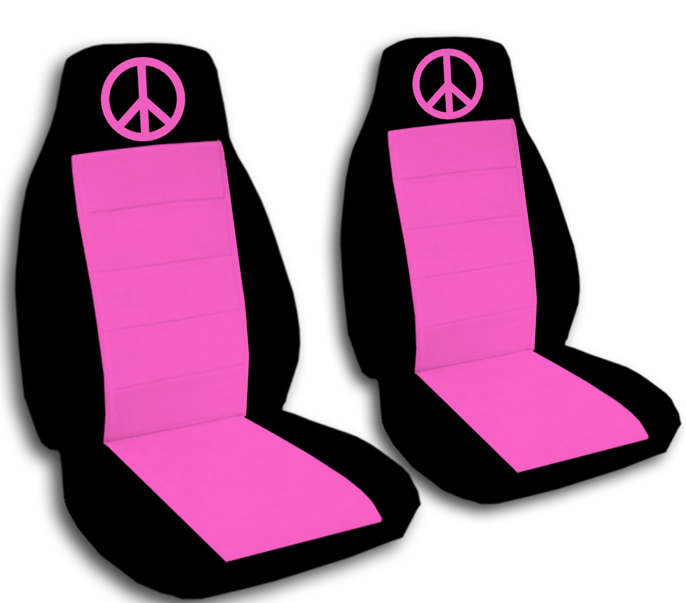 2 Front Lime Green Seat Covers with a Purple Insert.