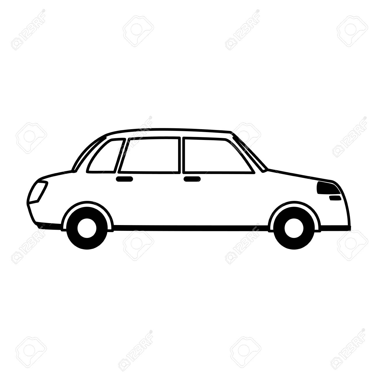 car sideview icon image vector illustration design black line.