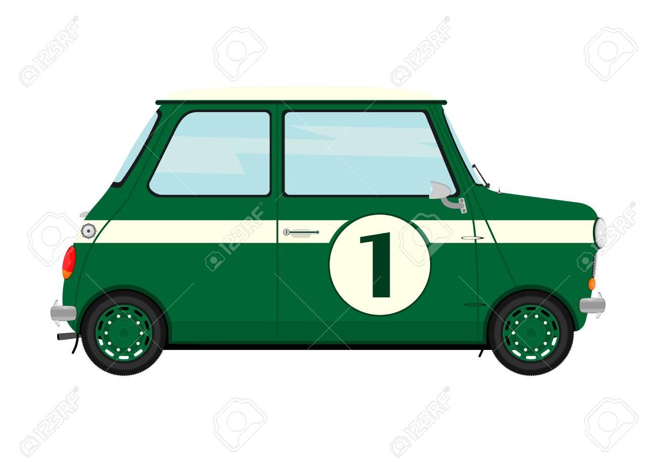 Cartoon retro car. Side view Flat vector..