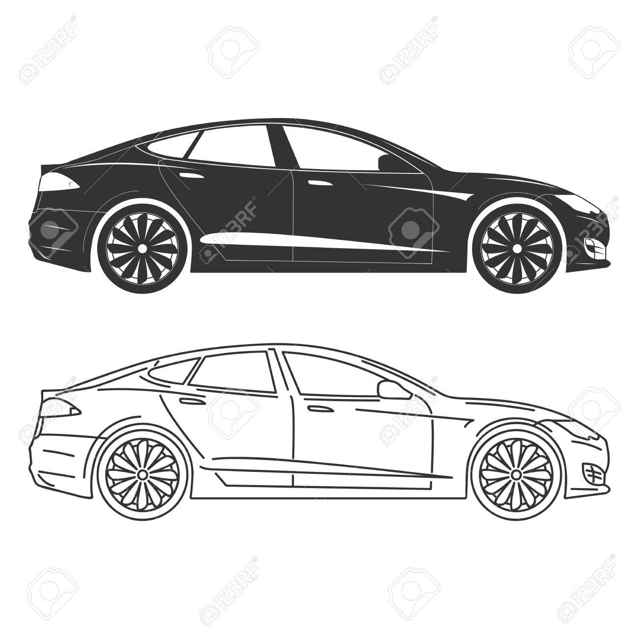 Silhouette of electric car Side view Flat Outline..