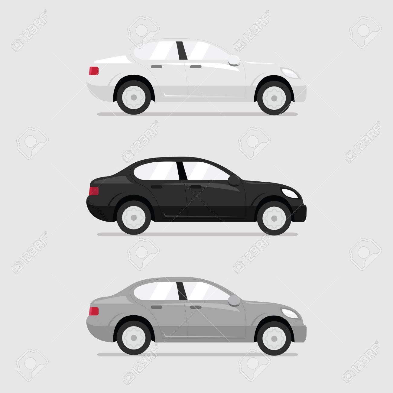 Cars side view. Vector flat illustration set.