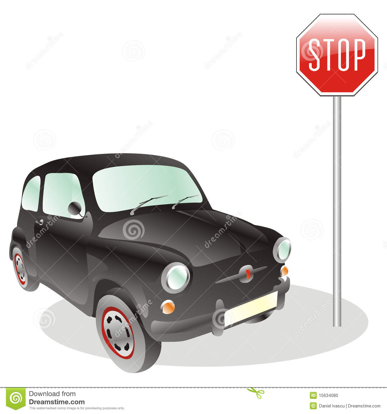 Car and stop sign stock vector. Illustration of clipart.