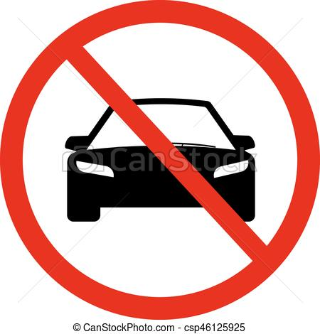 No Car sign illustration..