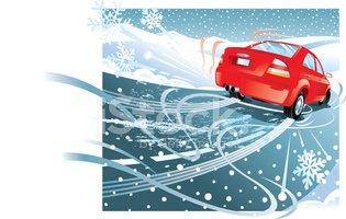 Car Skidding Ice C Stock Vector.