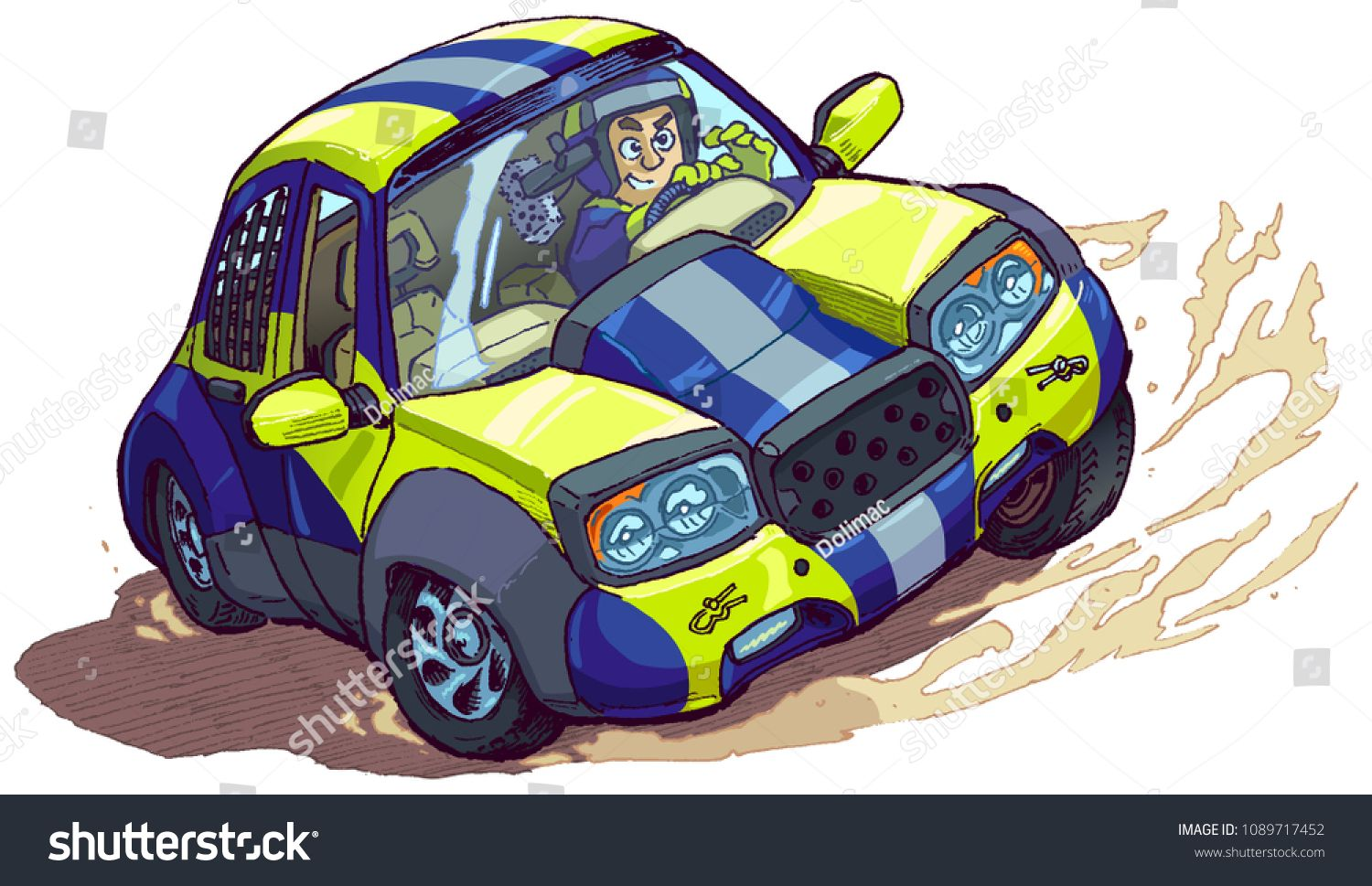 Vector cartoon clip art illustration of a rally car with.