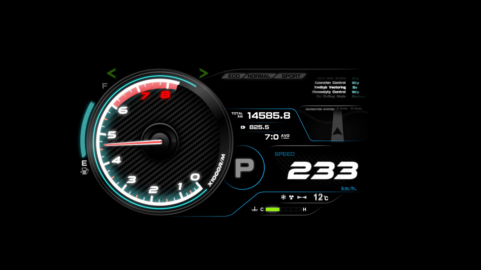 4 K Animation Of Futuristic Car Dashboard With Speed And Rpm Meter Movement  Concepts For Transport Vehicle Design Motion Background.