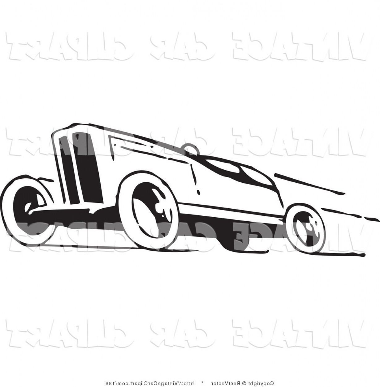 Clipart Of A Retro Black And White Race Car Speeding Away To The.