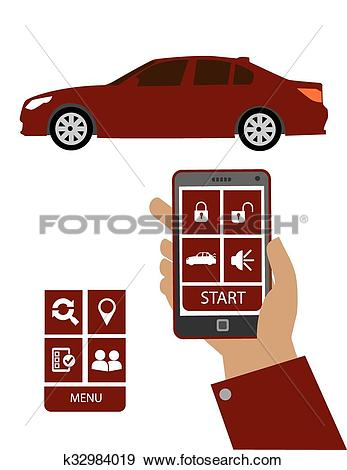 Clip Art of Remote car starter control syste k32984019.