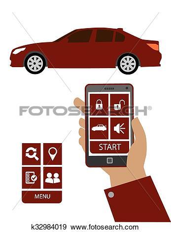 Clip Art of Remote car starter control syste k32984019.