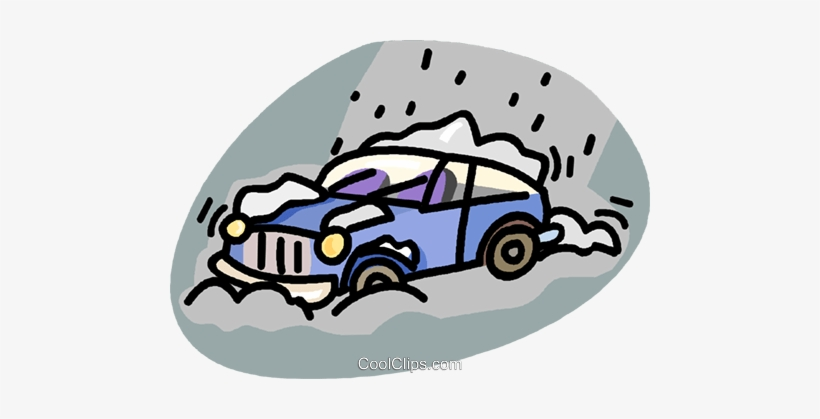 Car Stuck In A Snow Storm Royalty Free Vector Clip.