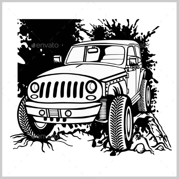 Offroad Car Monochrome Template for Labels.