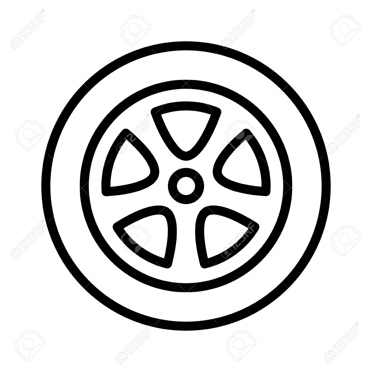 Car, vehicle or automobile tire alloy wheel with rim line art...