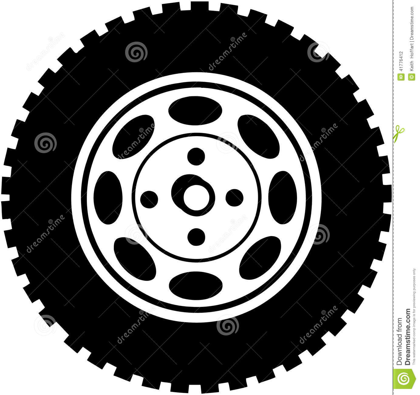 Car tire on road clipart.