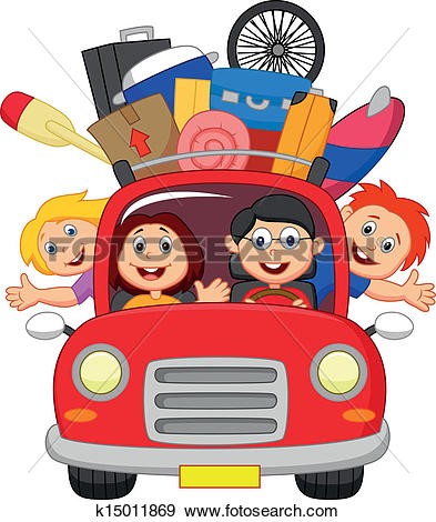 Clipart of Lets go for fun: a car ready for vacations. k3790825.