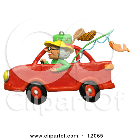 Clay Sculpture Clipart Granny Driving A Car To Go Fishing.
