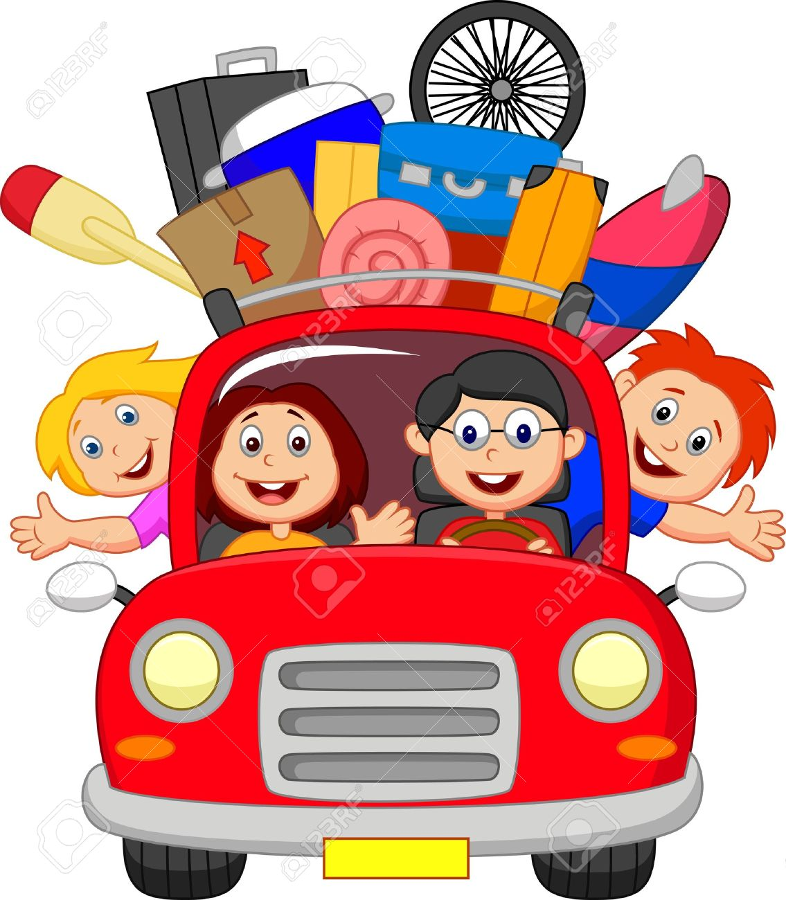 Cartoon Family traveling with car.