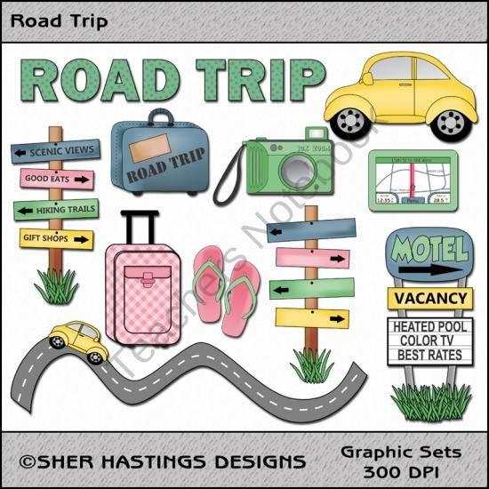Road Trip Travel Clipart from Shers Creative Space on.