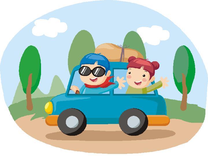 car trip clipart cartoon blue car - Clipground
